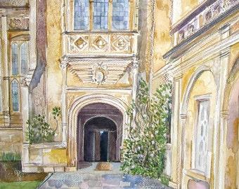 Forde Abbey - original fine art architecture greetings card