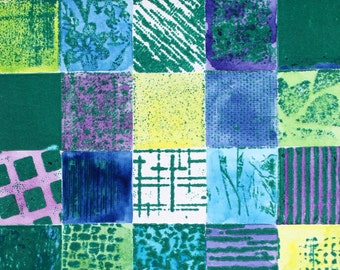 Patchwork - mounted contemporary abstract signed Original Collagraph with Watercolour