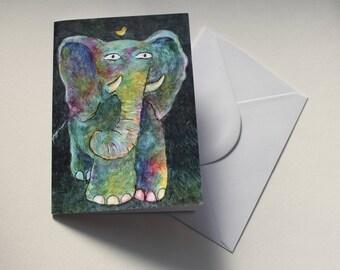 Boris and his best friend Thimble - fine art childrens illustration elephant Greetings Card