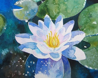 Water Lily - contemporary watercolour fine art floral Greetings Card