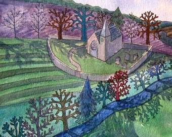 Church on a Hill - contemporary fine art landscape greetings card