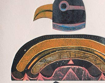 Totem - Signed Original Collagraph with stencils