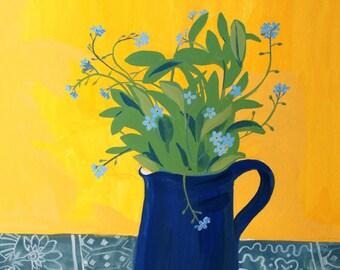 Forget-me-nots Original floral still life gouache painting