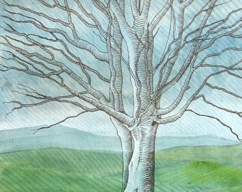 Ghost Tree - original mixed media watercolour painting