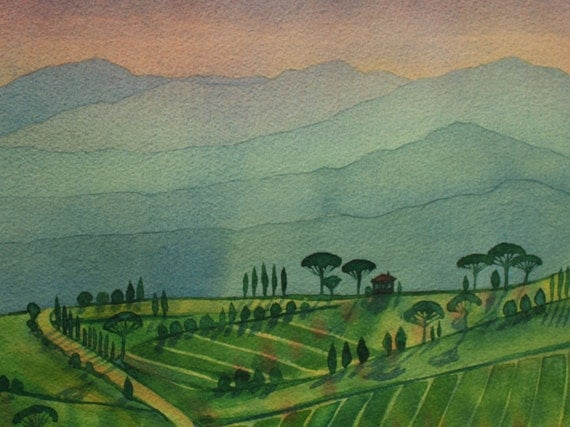 View from the garden, Tuscany - Original Watercolour Landscape Painting