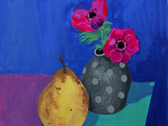Spotty vase - Contemporary original floral still life gouache painting