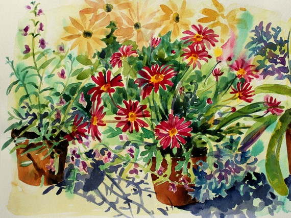 Spring Garden - Original still life floral watercolour painting