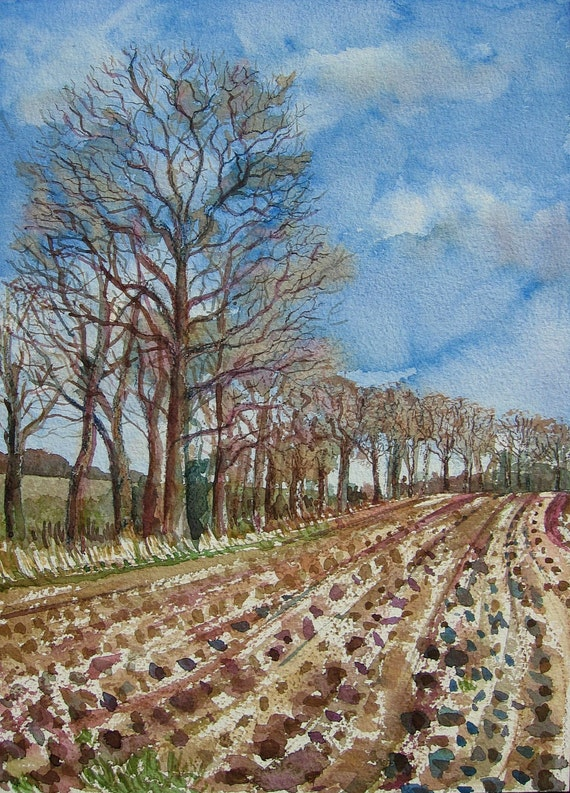 Ploughed Field - Original Watercolour Painting
