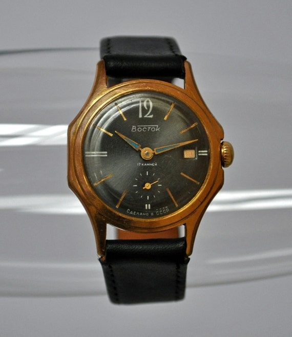 Vintage Soviet Russia wrist watch Wostok.Gold plated case.