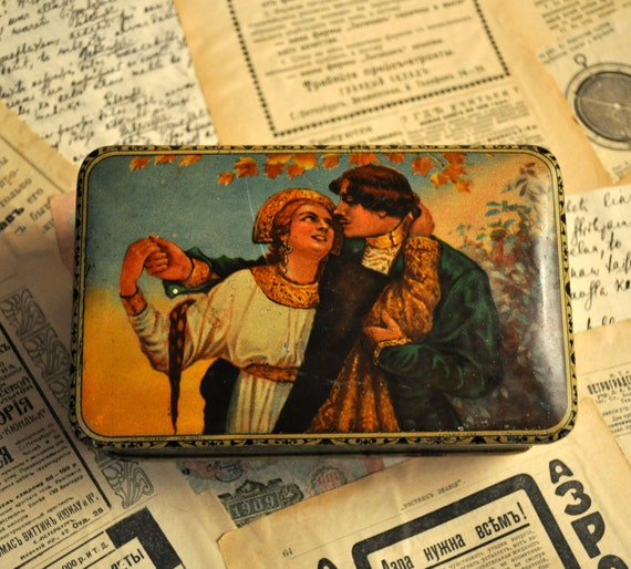 Vintage tin candy box.Russian national suits.