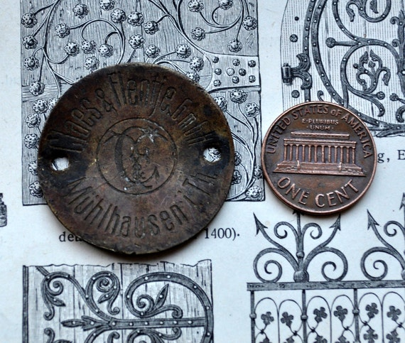 Vintage brass trade mark plate,decor,hardware from old sewing machine.