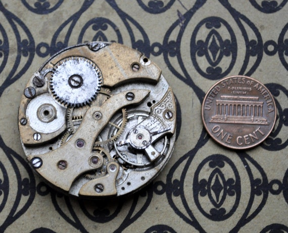 Antique pocket watch movement.