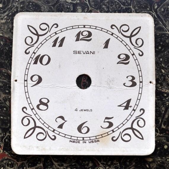 Vintage cardboard alarm clock face,dial,circle.