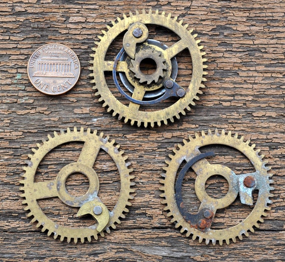 Lot of 3 Vintage big brass clock gears,wheels,cogs.
