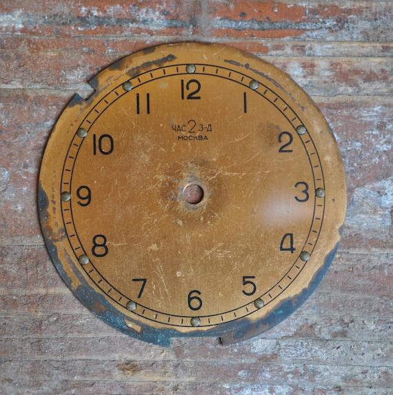 Vintage brass Soviet alarm clock face.dial.