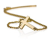 Sideways Cross Necklace 925 Sterling Silver Plated in 18k Gold