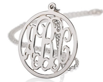 """Monogram Necklace - 1.25"""" Personalized Monogram - 925 Sterling silver"""