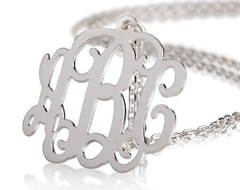 Monogram Necklace - 1 inch Personalized Monogram - 925 Sterling silver Name Necklace