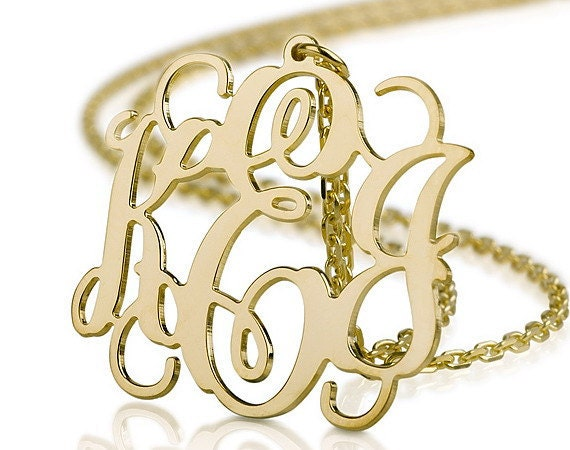 """Reserved for  Adriana a 2"""" Monogram Necklace - 18k Gold Plated Name Necklace"""