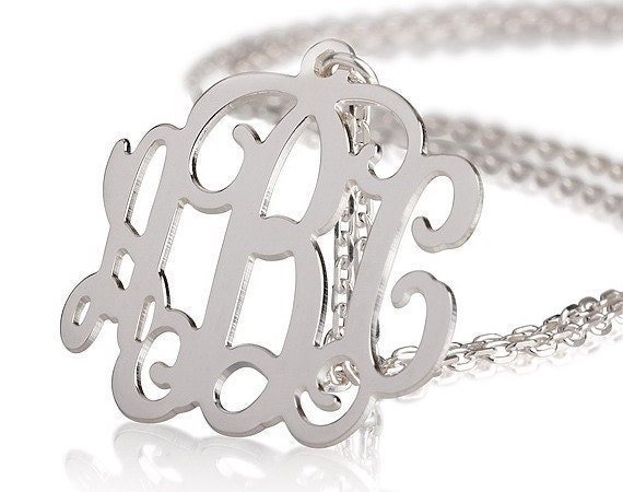 Monogram Necklace - 2 inch Personalized Monogram - 925 Sterling silver Name Necklace