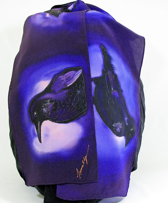 painted silk scarf silk scarf purple by