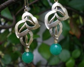 "Emerald Green Jade Leaf Earrings  TAKE 15% OFF use coupon code ""FIRECRACKER"" at checkout to receive your discount"
