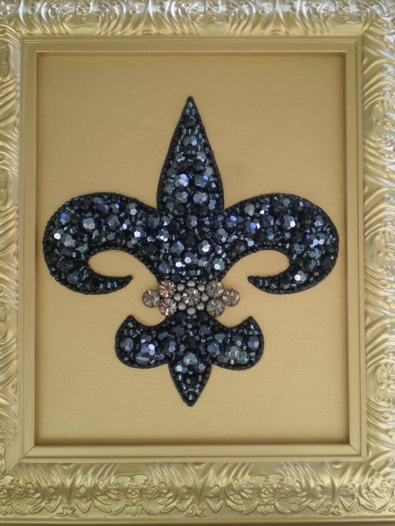"Jeweled Fleur De Lis Art   15% Off (After Christmas Sale) Use coupon Code ""YEARENDSALE"" at checkout to receive discount"