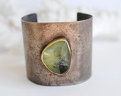 Bold Cuff 18k gold, Faceted Prehnite & Oxidized Silver
