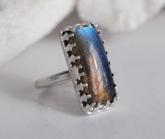 Cocktail Ring. Silver & Labradorite. Romantic, but Modern. One of a kind.