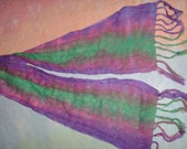Tie Dyed Purple and Green Scarf.