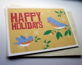 Happy Holidays - Birds & Holly