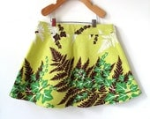 Girls Size 7 Skirt - 100% Cotton Vintage Bark Cloth - Ivy and Fern