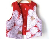 Size 7/8 Kid's Holiday Vest  - Reversible Marimekko Cotton