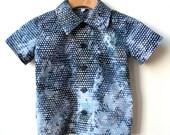 Boy's 2T Button Down Shirt  in Modern Batik