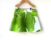 Girls Size 5 Marimekko Skirt- Green Flowers and Leaves