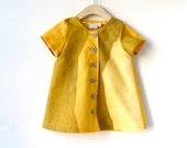 Size 5T Girls Short Sleeve Tunic Dress - Yellow and Grey Marimekko Cotton