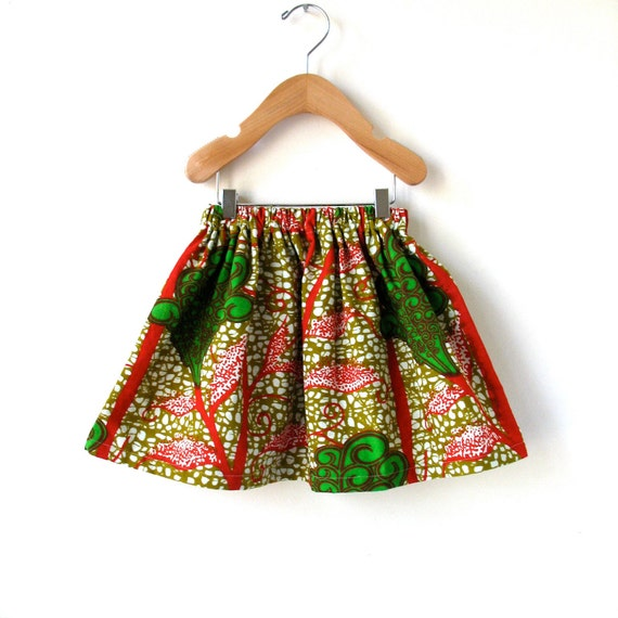 African Wax Print Girls Gathered Skirt in Beautiful Cotton