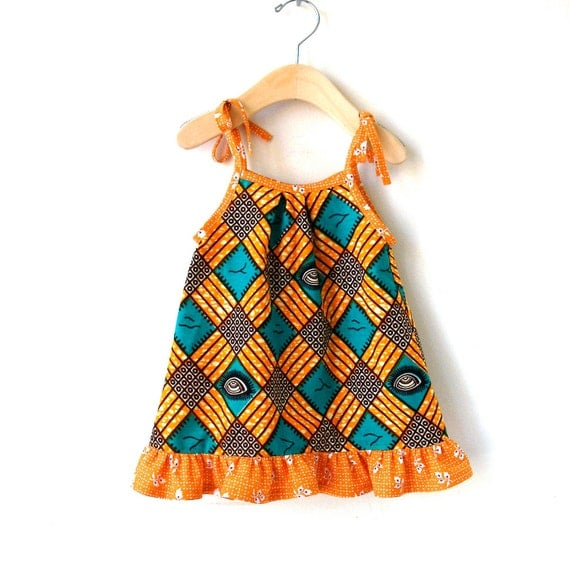 Size 6 Month African Wax Print Sundress