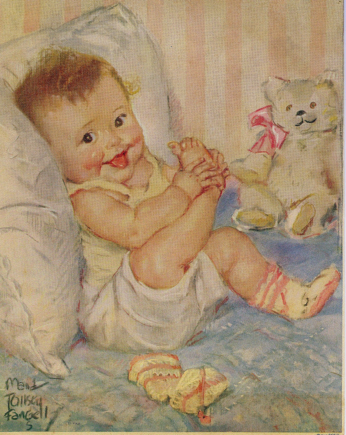 Vintage Baby Lithograph Baby W Bear Amp Booties Nursery Decor
