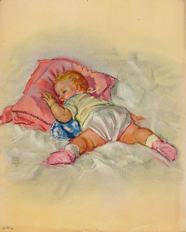 Baby Nash S Vintage Nautical Nursery: Vintage 1950s Baby Girl Lithograph Print Nursery Decor