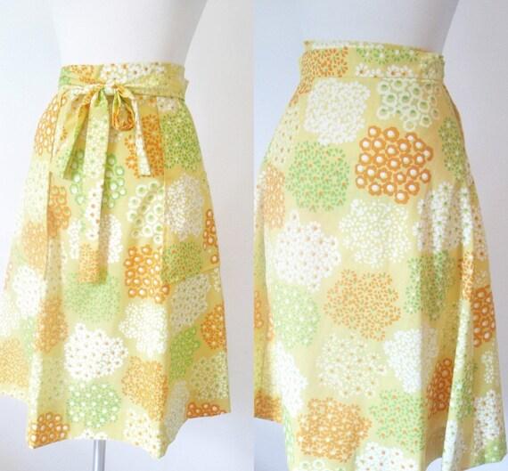 vintage wrap skirt 1970s 70s floral