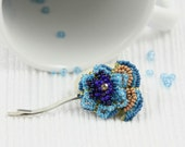 Blue Golden Pansy Hair Pin Accessories  - Flower Bobby Pins - Pansies