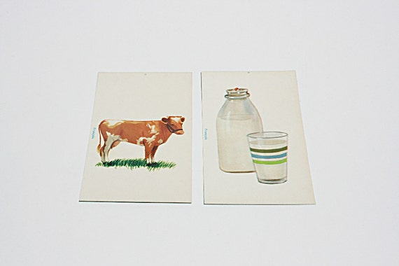Vintage 60s French language flashcards - perfect for framing