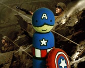 OOAK Captain America Peg Person - Hand-Painted Wooden Figurine WITH SHIELD