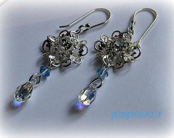 Swarovski Bridal Bridesmaid Earrings Dazzling Something Blue