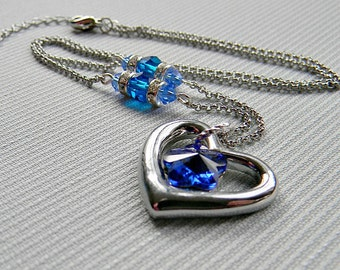Crystal Heart Necklace Lilac, Fern, Blue Silver Crystal Jewelry