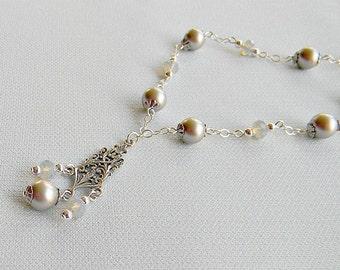 Swarovski Bridal Necklace Platinum White Opal Gray Crystals sterling silver chain White Platinum Bordeaux Dark gray Charcoal