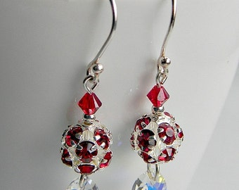 Rhinestone Crystal Swarovski crystals earrings finished with silver plated bead