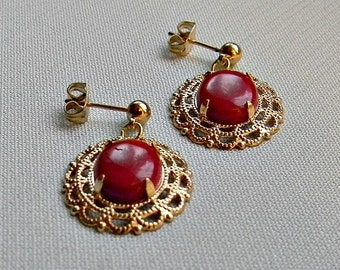 Earrings, Stud, Red Coral Cabochon in Gold Plated Fancy Filigree