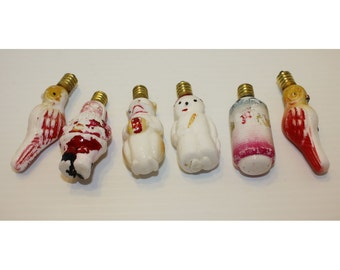 Antique Milk Glass Figural Christmas Tree Lights All Working - 6